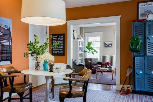 Wandfarbe Apricot Esszimmer Wnde Streichen Runder Esstisch   Apricot  Wandgestaltung