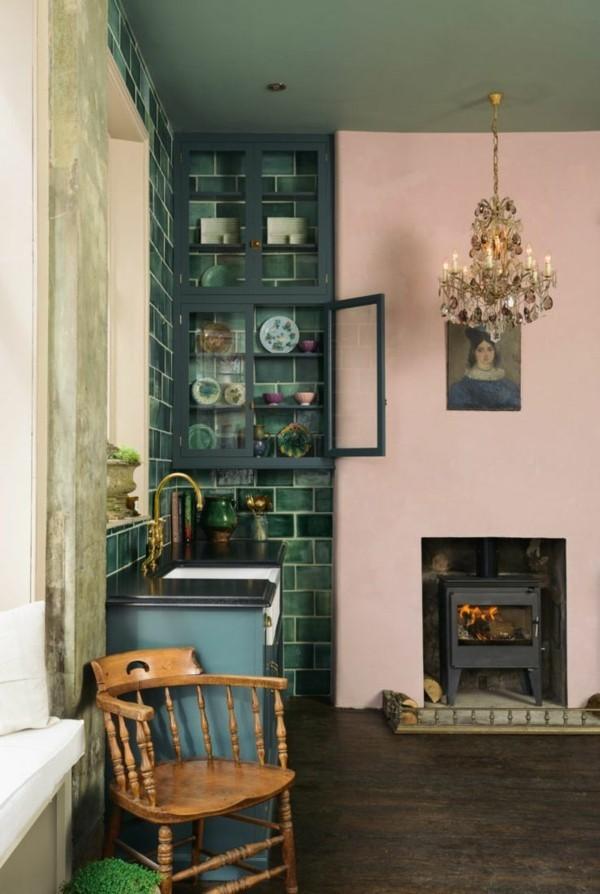 wandfarbe apricot gemütliches wohnzimmer aprikosenfarbe gräne wandfliesen kombination - Копие