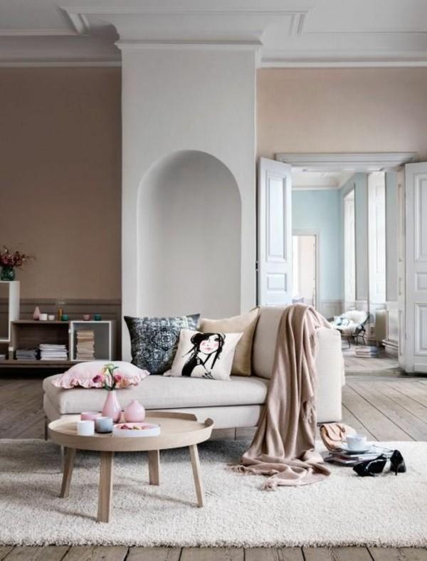 wandfarbe apricot moderner wohnbereich skandinavisches flair