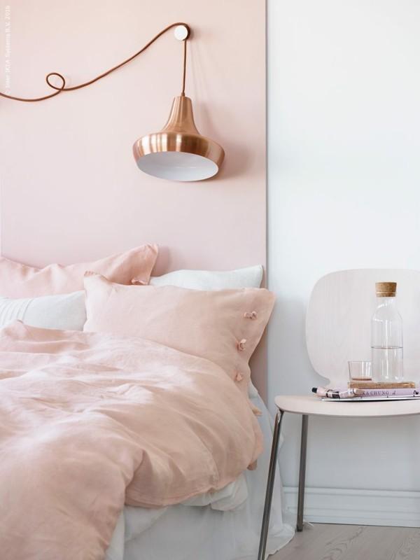 wandfarbe apricot schlafzimmer einrichten gemütlich frisch hell