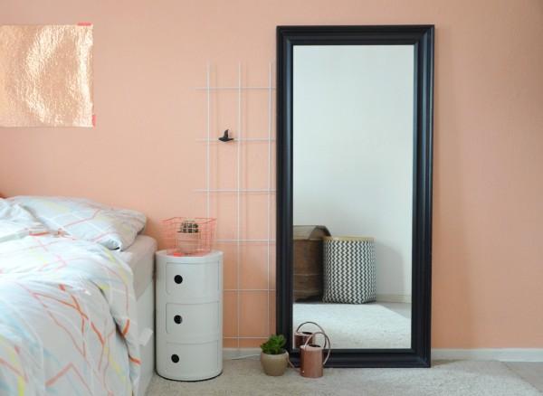 wandfarbe apricot schlafzimmer einrichten helle bettwäsche