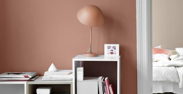 wandfarbe apricot wohnbereich farbig gestalten weiße möbel dezente deko