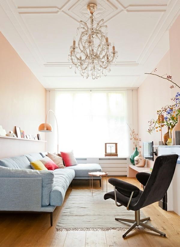 Wandfarbe Apricot Wohnzimmer Gemütlich Gestalten Schöne Kassettendecke