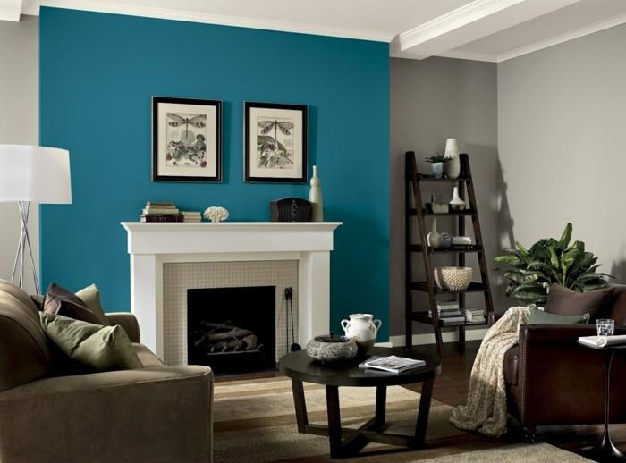 Wandfarbe Petrol Gemütliches Wohnzimmer Beige
