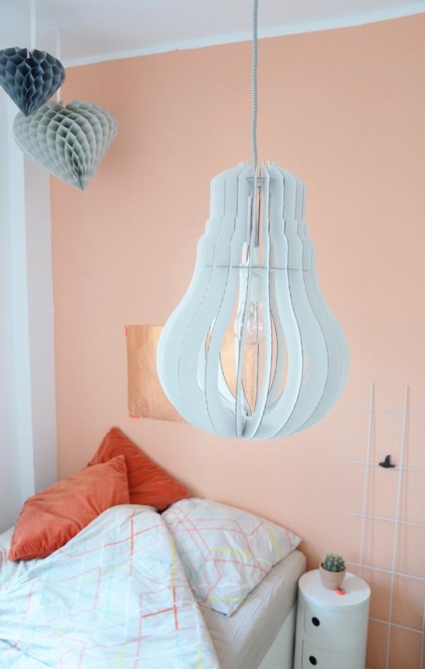 wandfarben ideen aprikosenfarbe schlafzimmer ausgefallene hängelampe