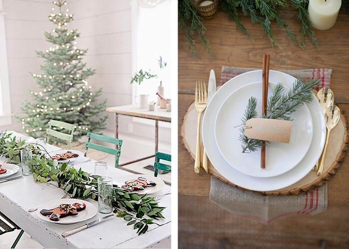 weihnachtliche tischdeko festliche stimmung viel grün