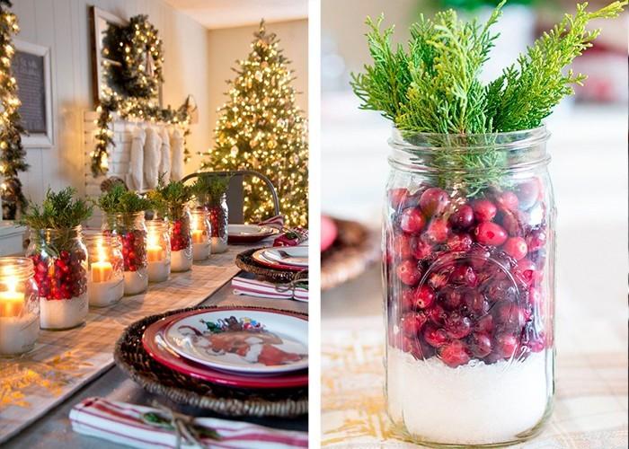 weihnachtliche tischdeko hagebutten tannenäste
