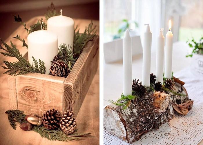 weihnachtliche tischdeko holz weiße kerzen