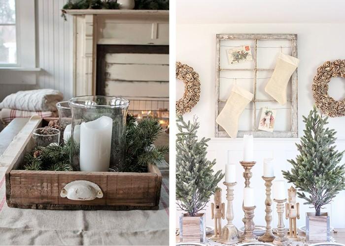 weihnachtliche tischdeko kerzenhalter weiße kerzen