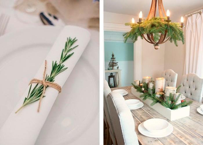 weihnachtliche tischdeko rosmarin leuchter dekorieren tannenäste