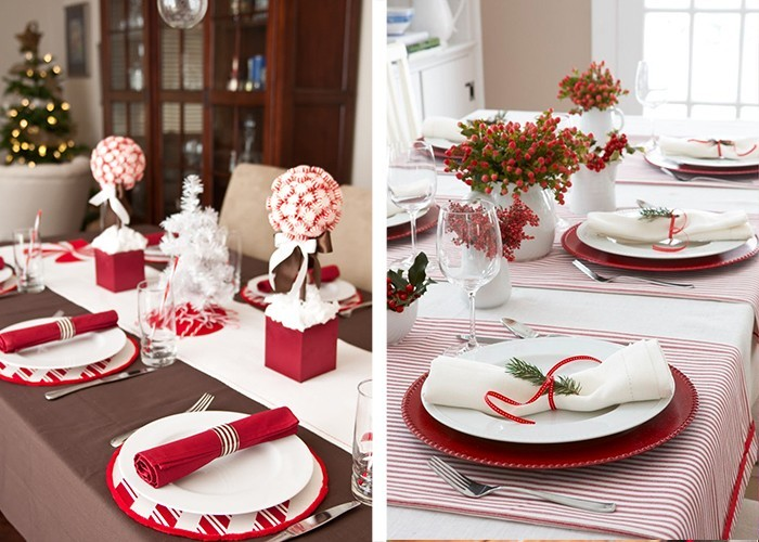 weihnachtliche tischdeko servietten als deko weiße tischdecke