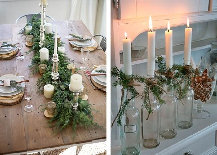 weihnachtliche tischdeko tannenäste kerzenhalter
