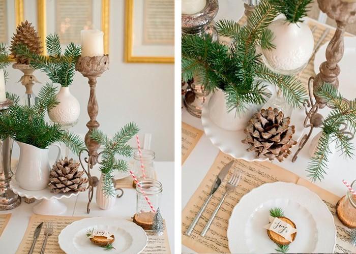 weihnachtliche tischdeko tannenzapfen tannenäste
