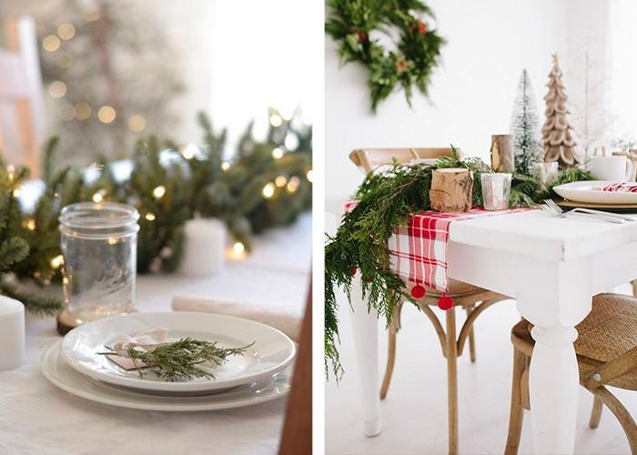 weihnachtliche tischdeko viel grün tannenäste weiße tischdecke