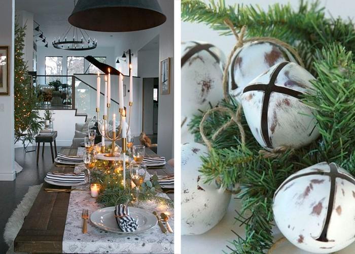 weihnachtliche tischdeko viel grün weißen tisch aufpeppen
