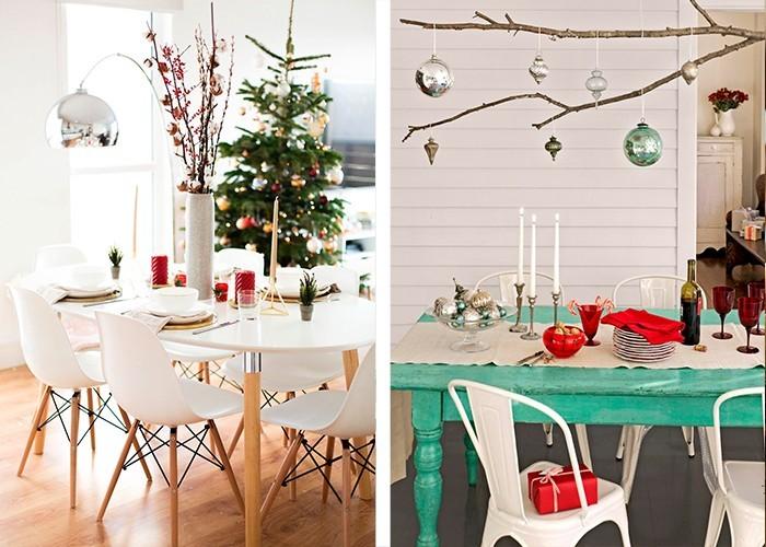 weihnachtliche tischdeko zweige rote elemente