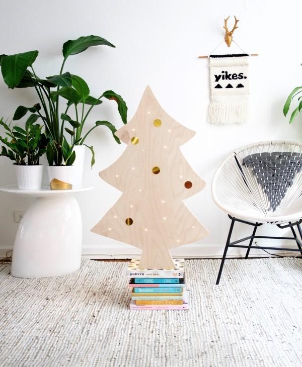 weihnachtsbaum basteln holz natürlich frisch