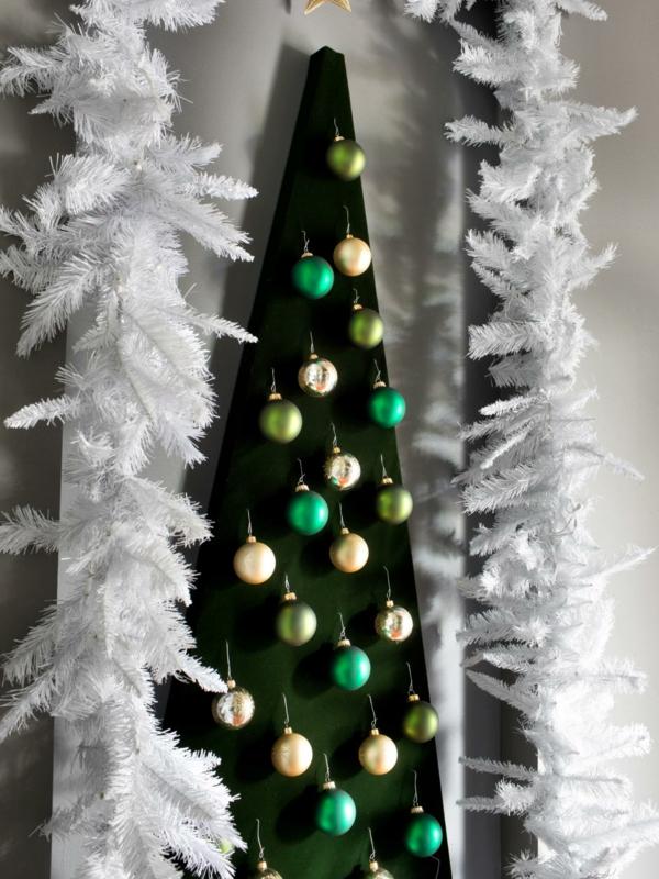 weihnachtsbaum basteln kreative bastelideen gruen weiss