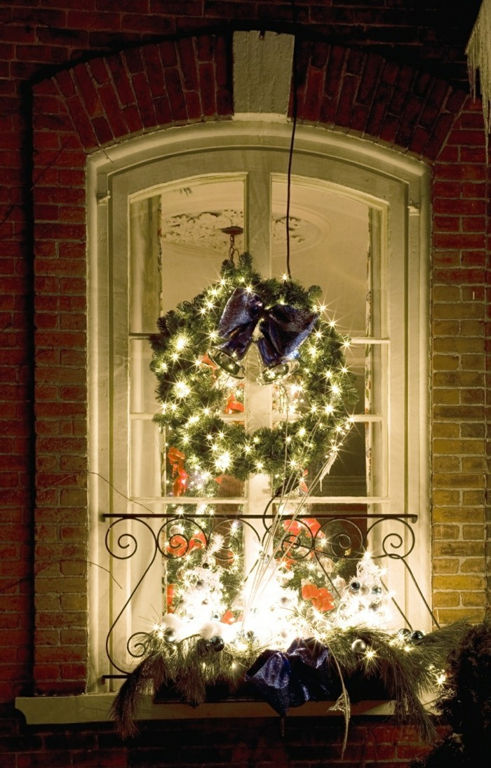 Christmas decorations on a window
