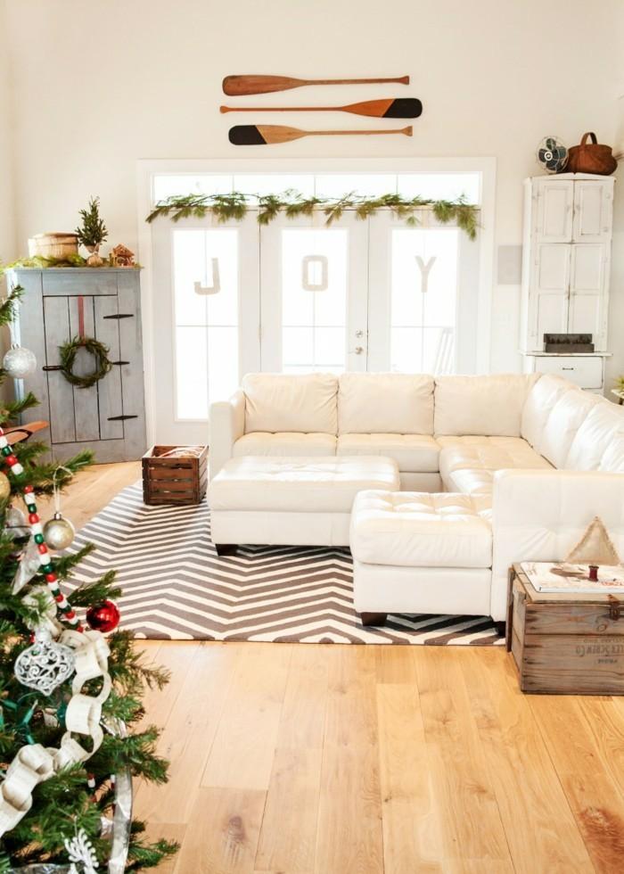 weihnachtsdeko fenster weihnachtsgirlande zig zag teppich