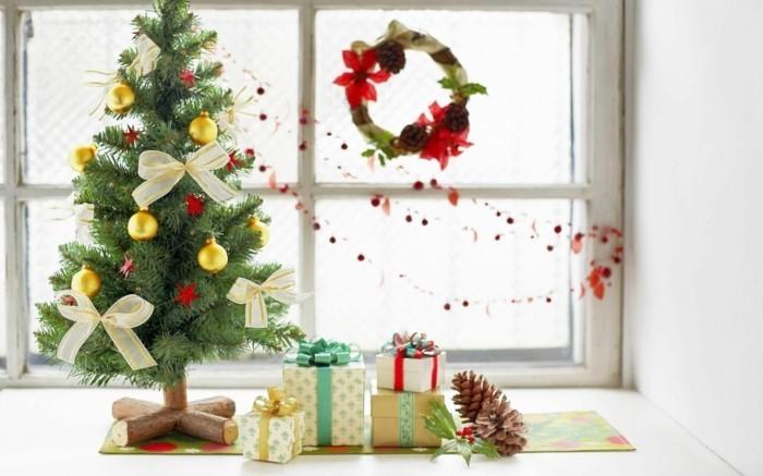 weihnachtsdeko fenster weihnachtskranz weihnachtsgirlande christbaum