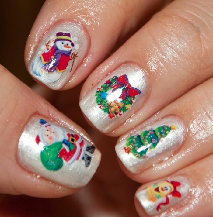 weihnachtsnägel farbig wintermärchen silberfarbe nagellack