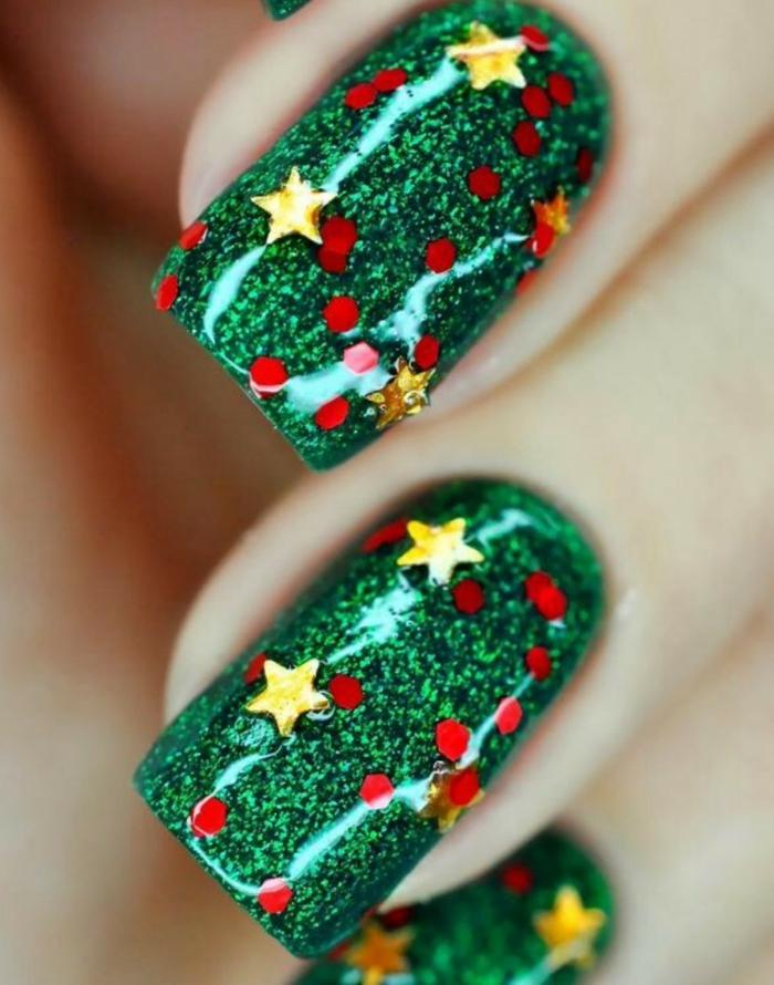weihnachtsnägel grün weihnachtsschnuck