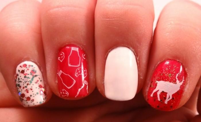 weihnachtsnägel rot weiß frisch festlich