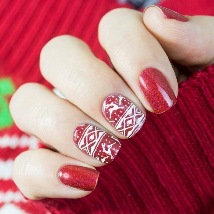 weihnachtsnägel roter nagellack wintermuste frisch