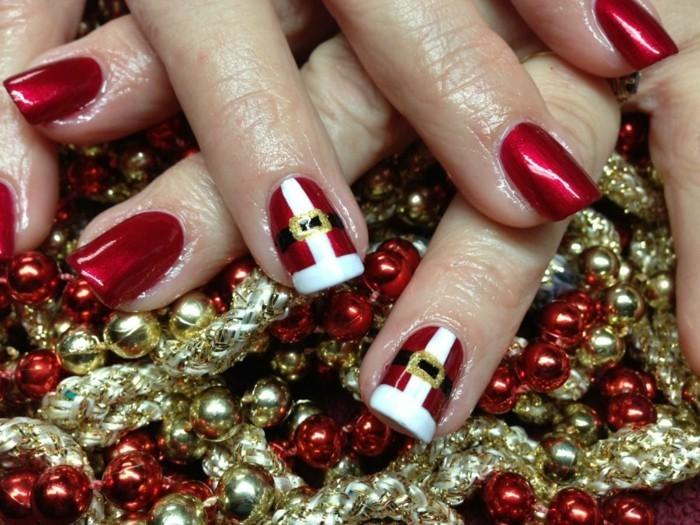 weihnachtsnägel weihnachtsmann motive roter nagellack