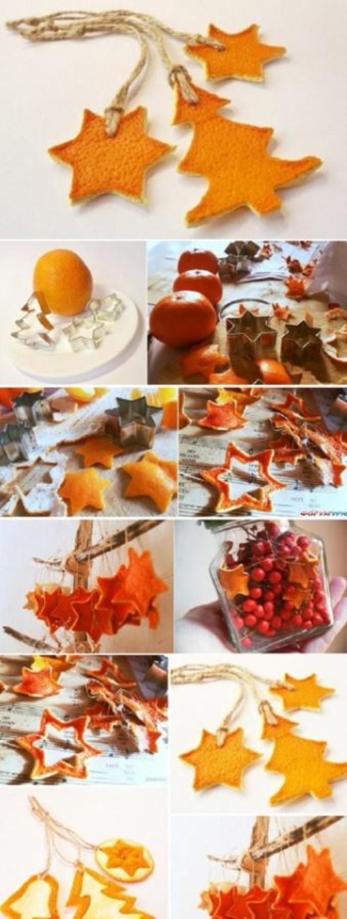 weihnachtsschmuckbasteln mit naturmaterialien aus orangenschale