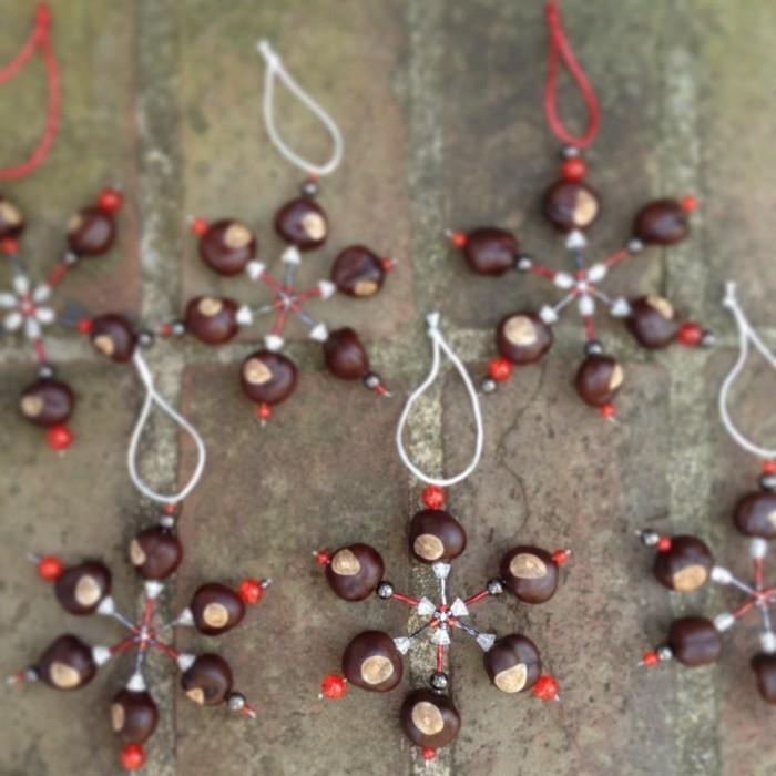 weihnachtsschmuck basteln mit naturmaterialien kastanien