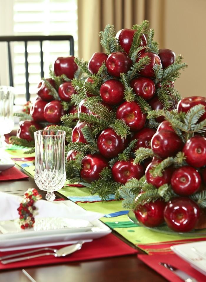 weihnachtsschmuckbasteln mit naturmaterialien roter apfel