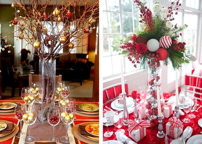 weihnachtstischdeko christbaumschmuck baumzweige kristallgläser