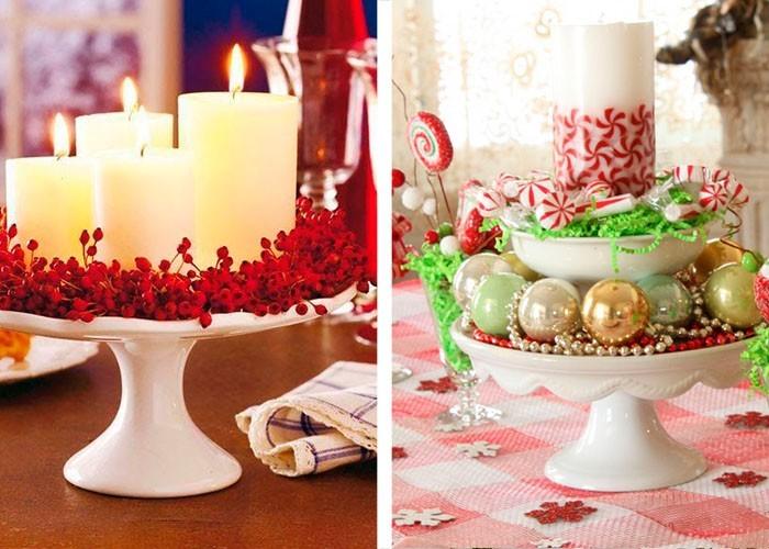weihnachtstischdeko ideen porzellan tortenständer stumpenkerzen christbaumschmuck