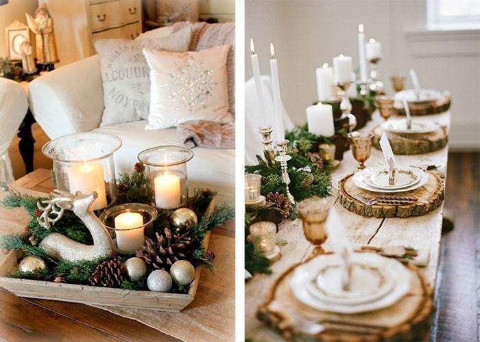 weihnachtstischdeko ideen tischdekoration baumscheiben tannengrün zapfen