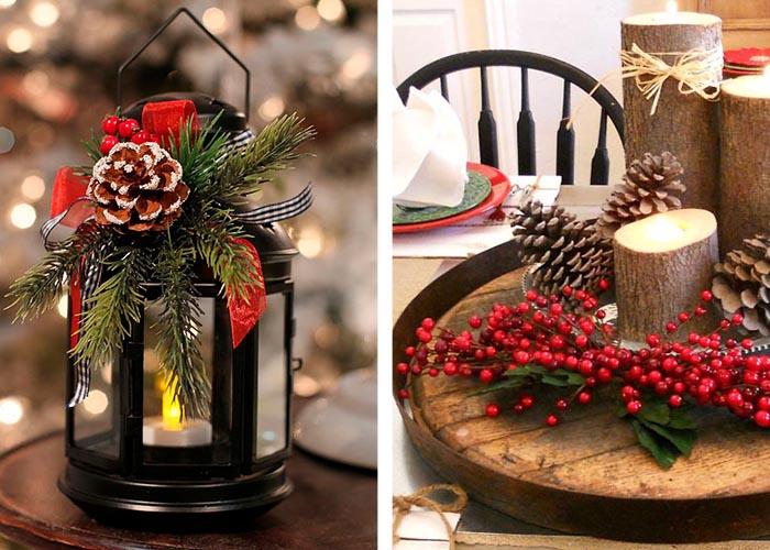 weihnachtstischdeko laterne dekorieren kerzenleuchter aus Baumzweigen