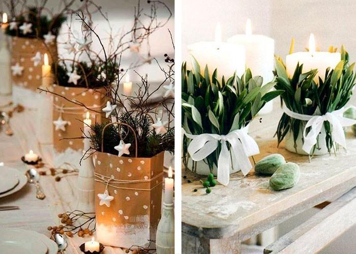 weihnachtstischdeko stumpenkerzen mit mistel zweigen kartontüten sterne tannengrün