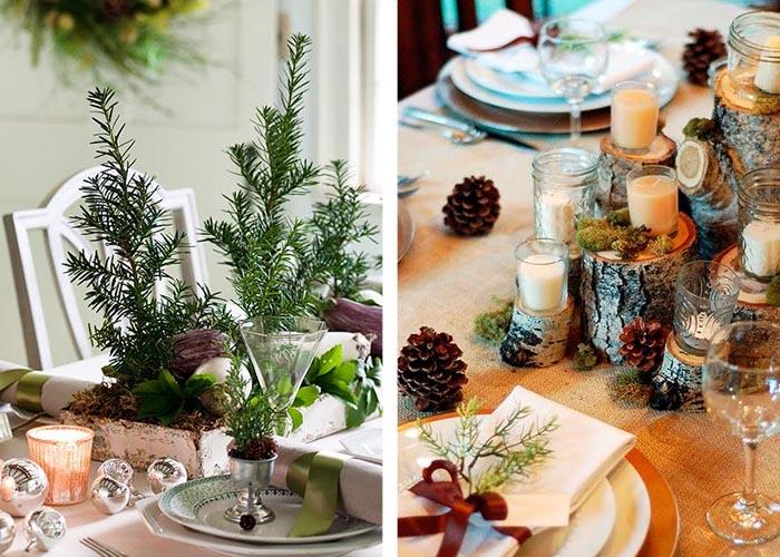 weihnachtstischdeko tannengrün baumklotze baumscheiben zapfen tischdeko ideen zu weihnachten