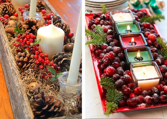 weihnachtstischdeko tisch zu weihnachten dekorieren mit tannenzapfen rote beeren und kerzen