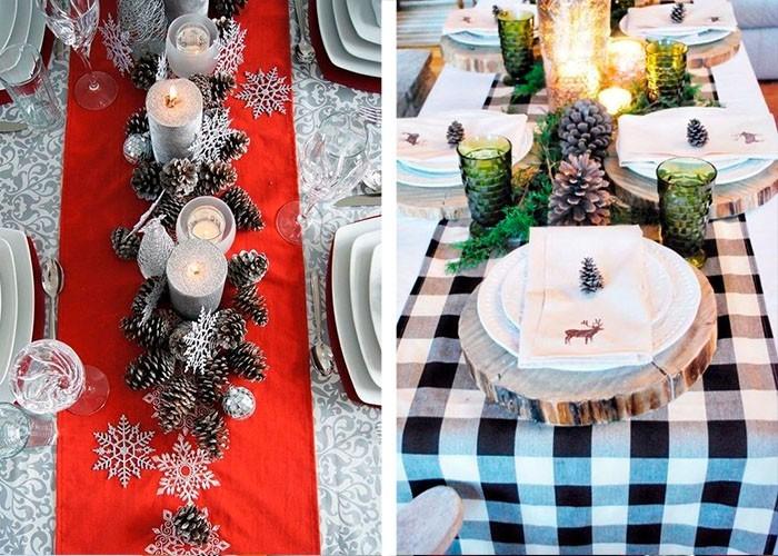 weihnachtstischdeko tischläufer tannenzapfen silber schneeflocken