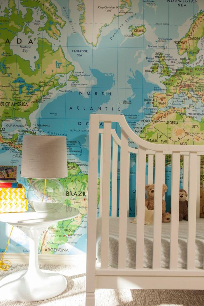 weltkarte wand babyzimmer wanddeko weiße möbel