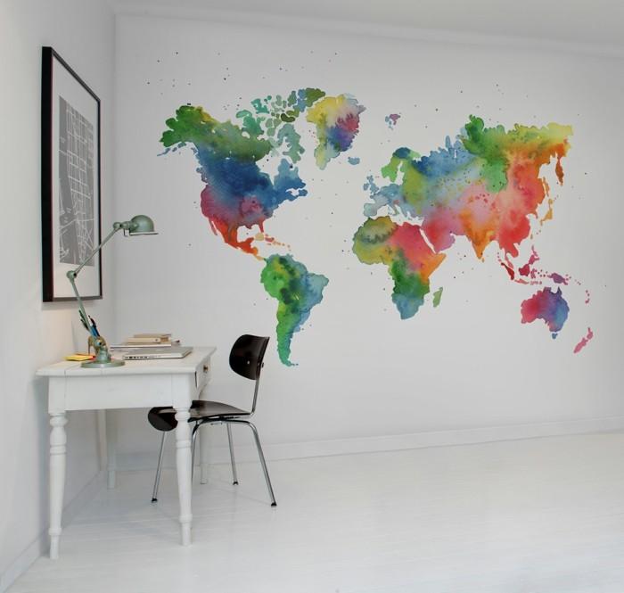 weltkarte wand farbige landkarte der welt weißes ambiente