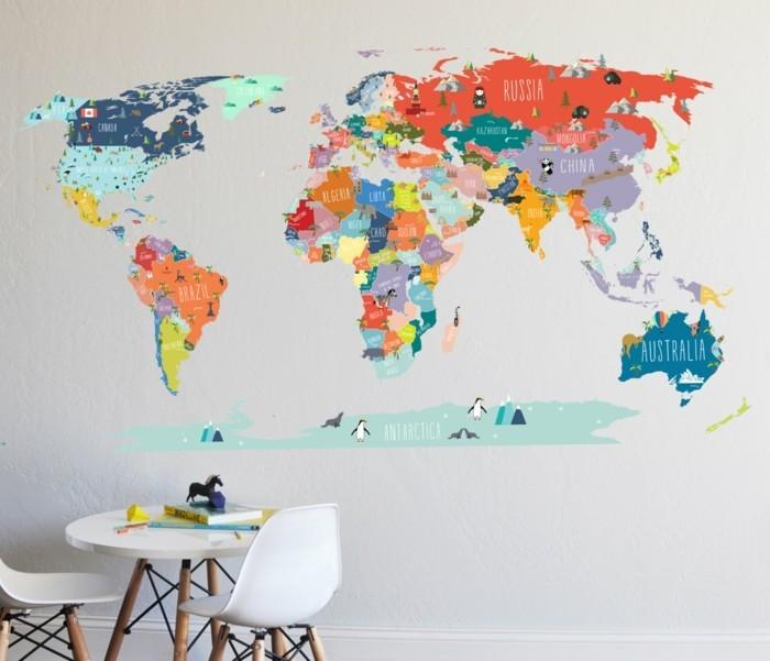 weltkarte wand farbige wanddeko landkarte welt