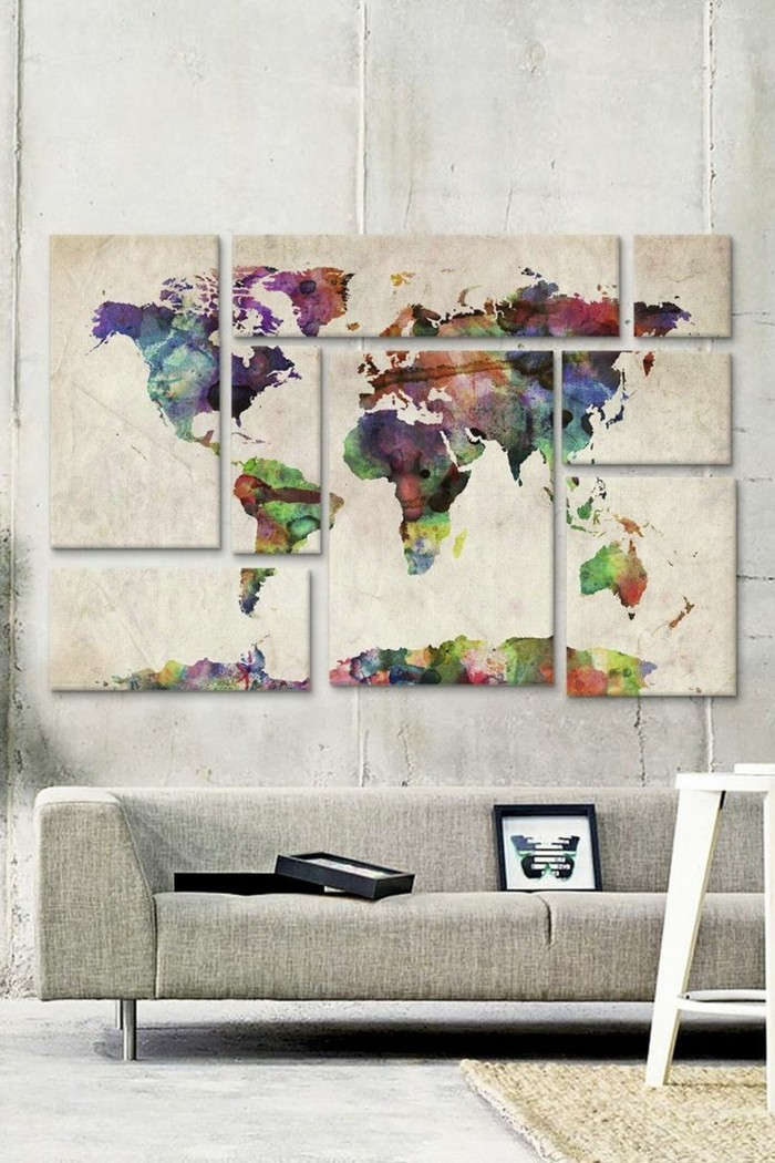 weltkarte wand farbige wanddeko leinwand skandinavisches wohnzimmer