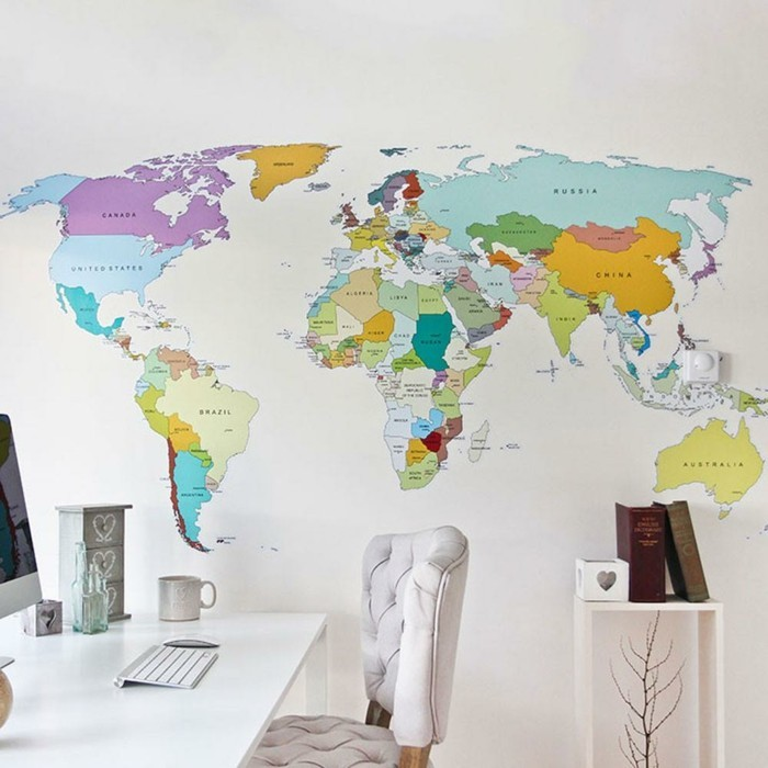 weltkarte wand home office wanddesign frische wandsticker