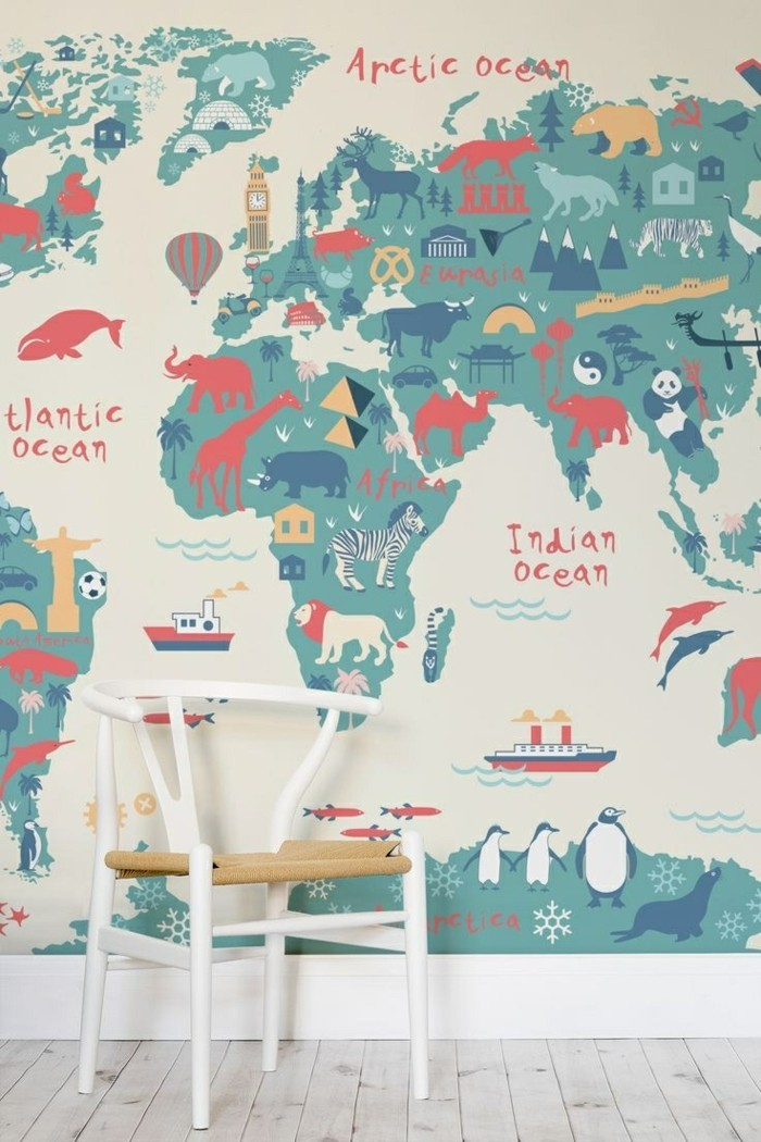 weltkarte wand kinderzimmer wanddeko lustig frisch wandmalerei