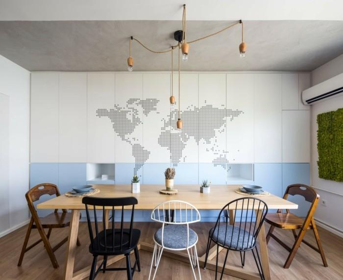 weltkarte wand kreative wanndeko modernes esszimmer