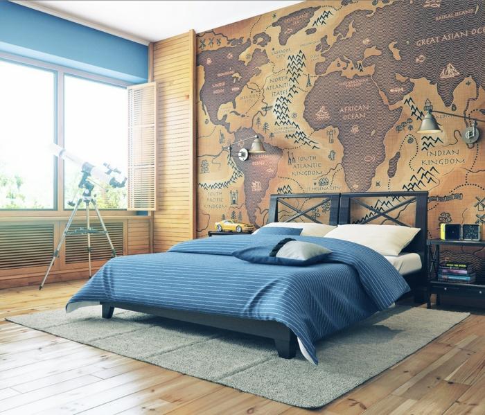 weltkarte wand schlafzimmer wandgestaltung ideen grauer teppich bodenbelag holzoptik