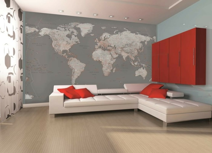 Weltkarte wand 73 beispiele dass weltkarten dynamik in die innengestaltung bringen - Wandmalerei wohnzimmer ...